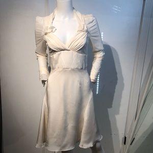 Zac Posen Ivory Silk Long Sleeve Dress